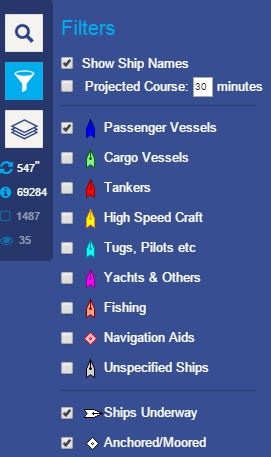 Funnel Icon on Cruise Ship Tracker below to see only Cruise or Passenger Ships